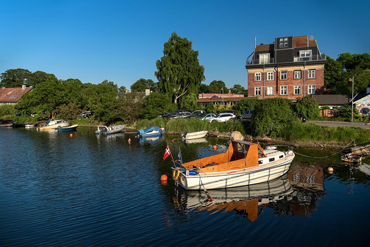 Image Copenhagen Denmark Rivers Marinas speedboat Houses Cities Pier river Berth Motorboat powerboat Building