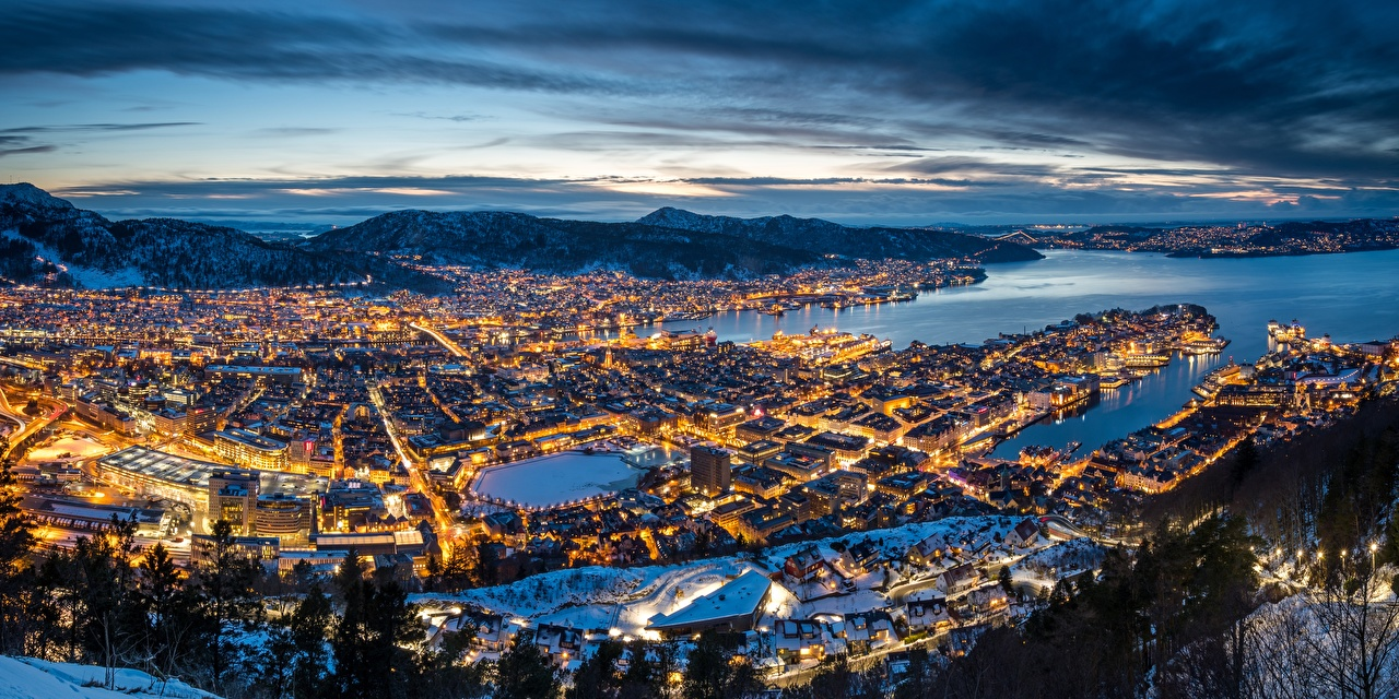 Picture Bergen Norway Evening From above Cities