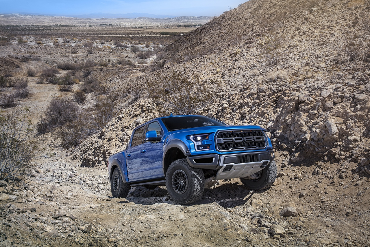 Photos Ford F-150 Raptor Pickup Blue Cars auto automobile