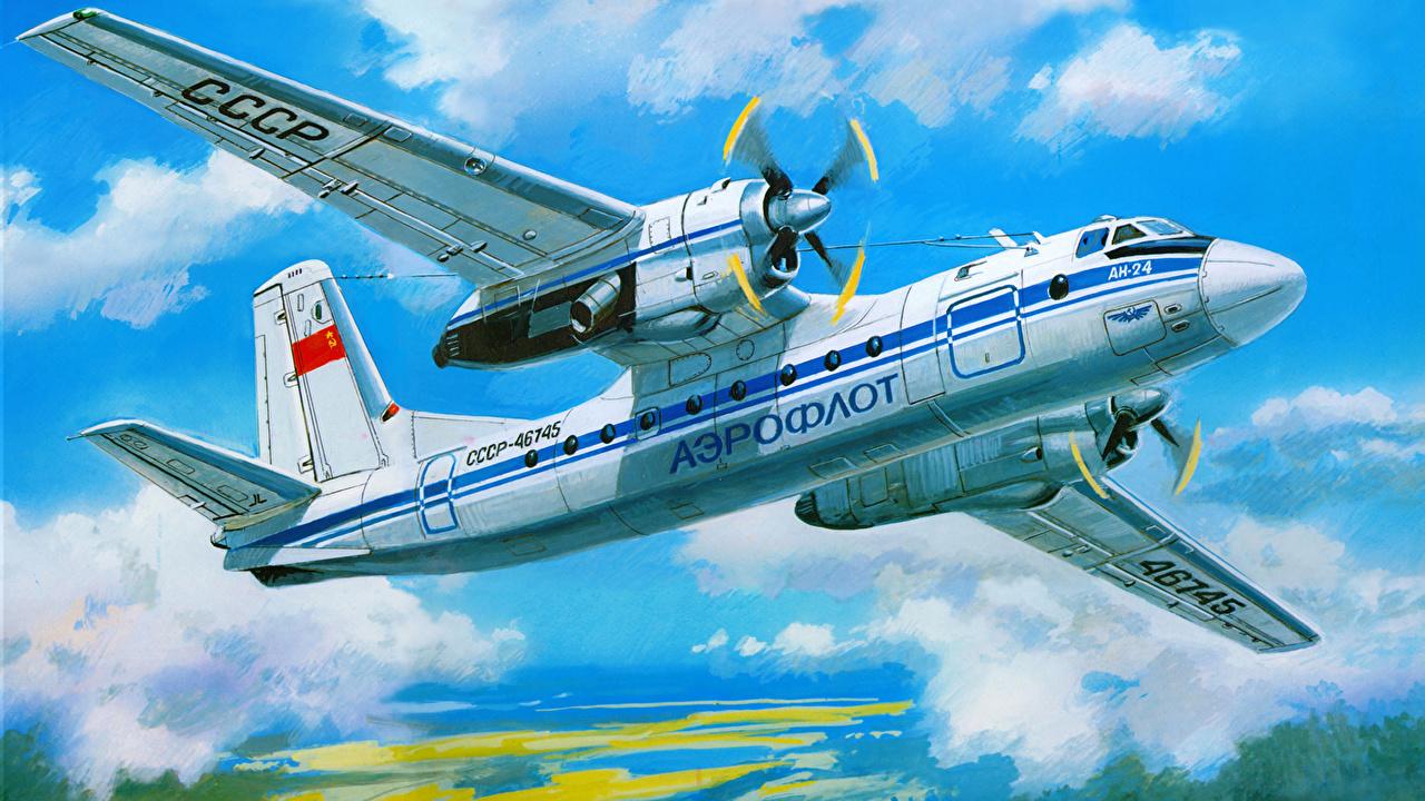 Images Airplane Passenger Airplanes Antonov An-24 Painting Art Aviation