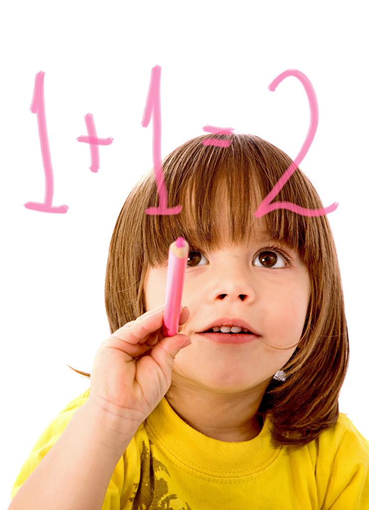 Picture Little girls School Children Hands Staring White background Glance