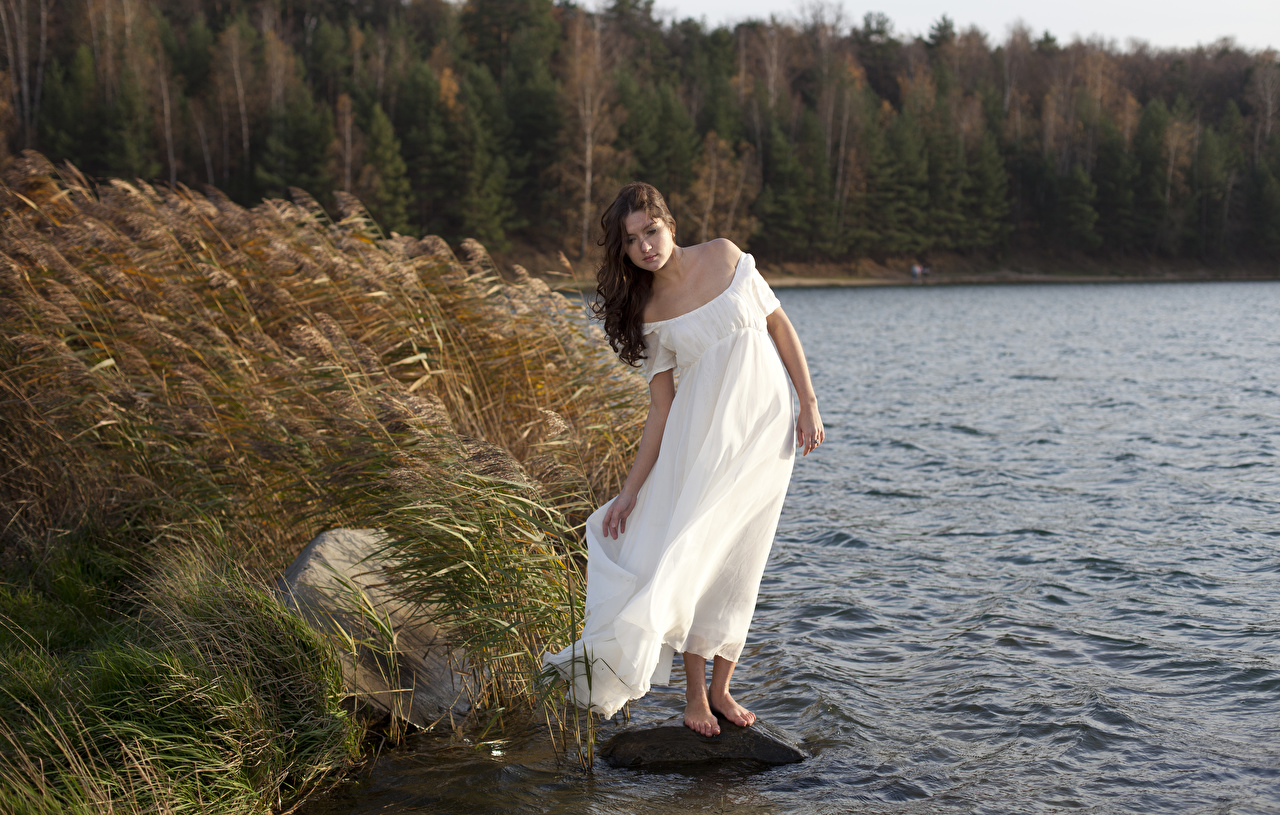 Photo Brown haired Wind female Lake Grass Stones Dress windy Girls young woman stone gown frock