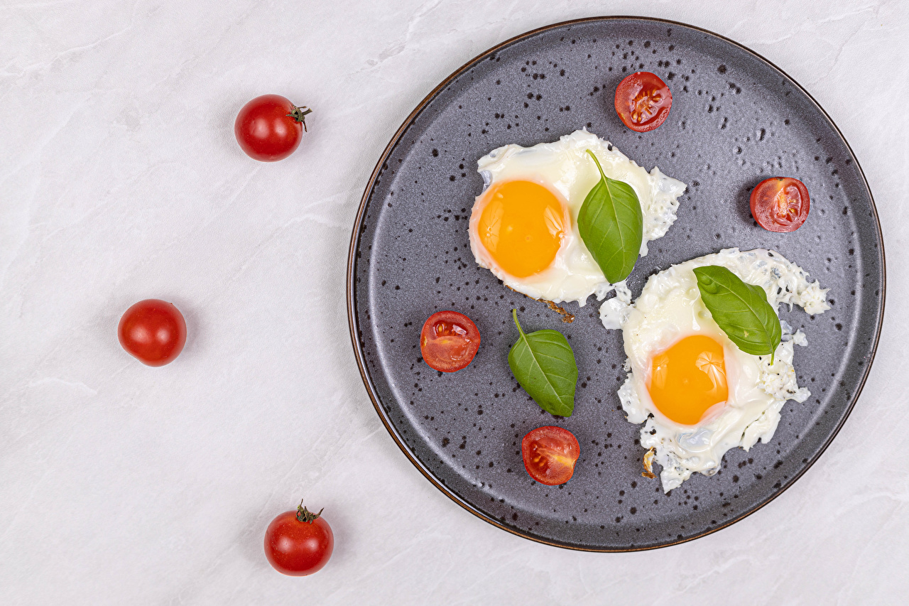Pictures Fried egg Two Tomatoes Food Plate 2