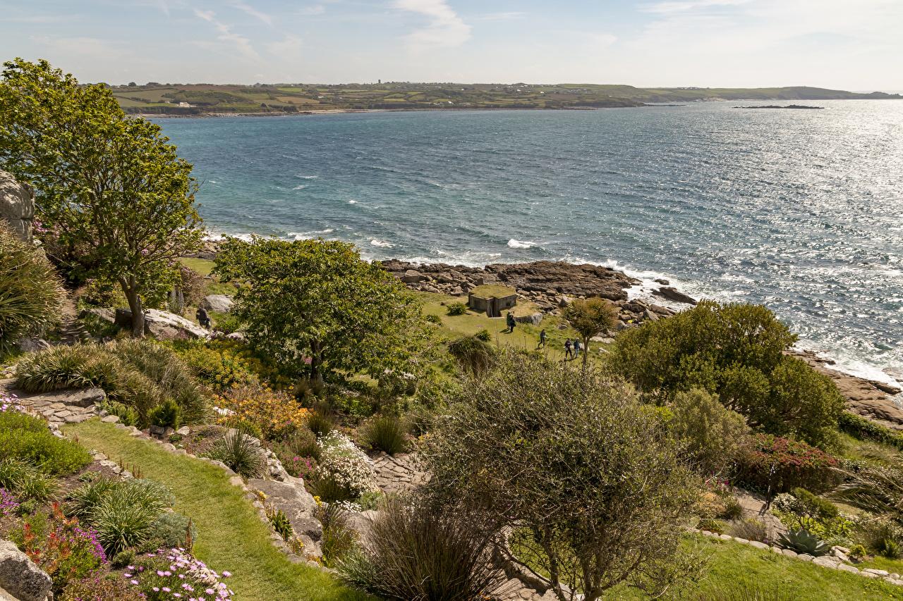 Reino Unido Costa Mar St Michael's Mount Bahía árboles Arbusto Naturaleza