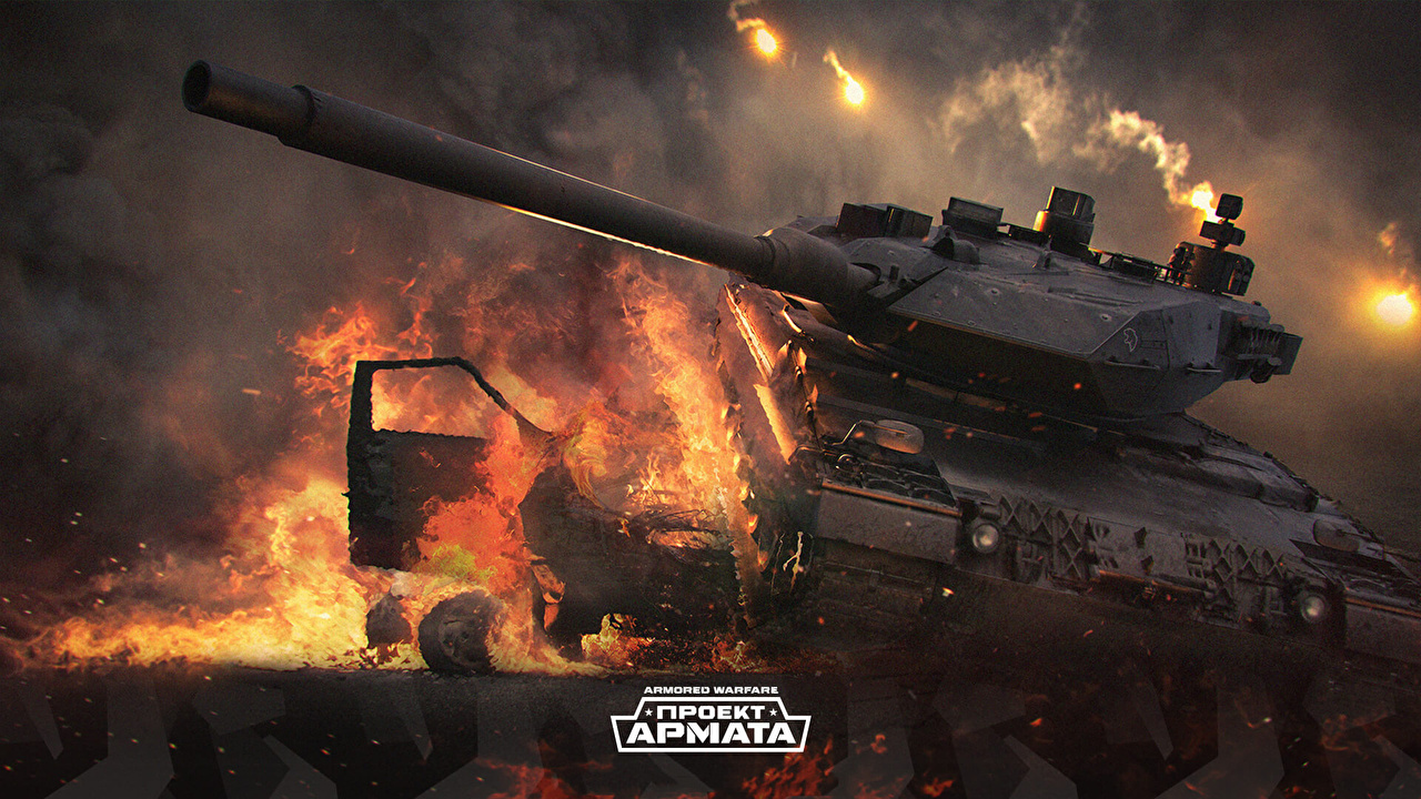 Desktop Wallpapers Armored Warfare tank Fire vdeo game Tanks flame Games