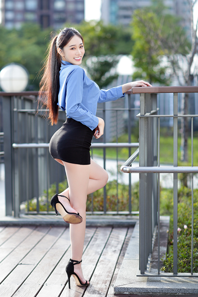 Photos Skirt Smile Pose Blouse Girls Legs Asiatic Staring  for Mobile phone posing female young woman Asian Glance