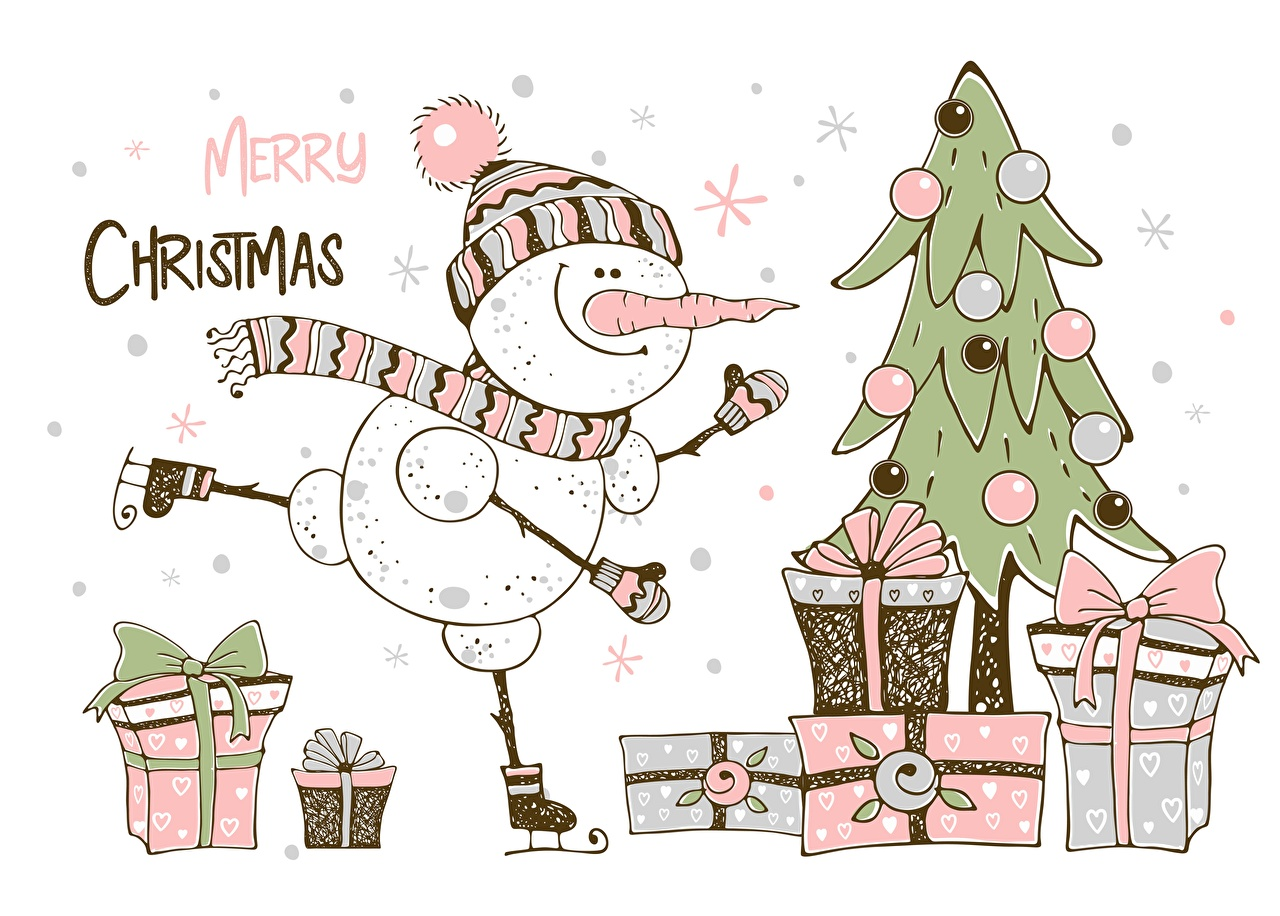 Pictures Christmas English New Year tree Box text Gifts Snowmen New year Christmas tree present Snowman lettering Word - Lettering