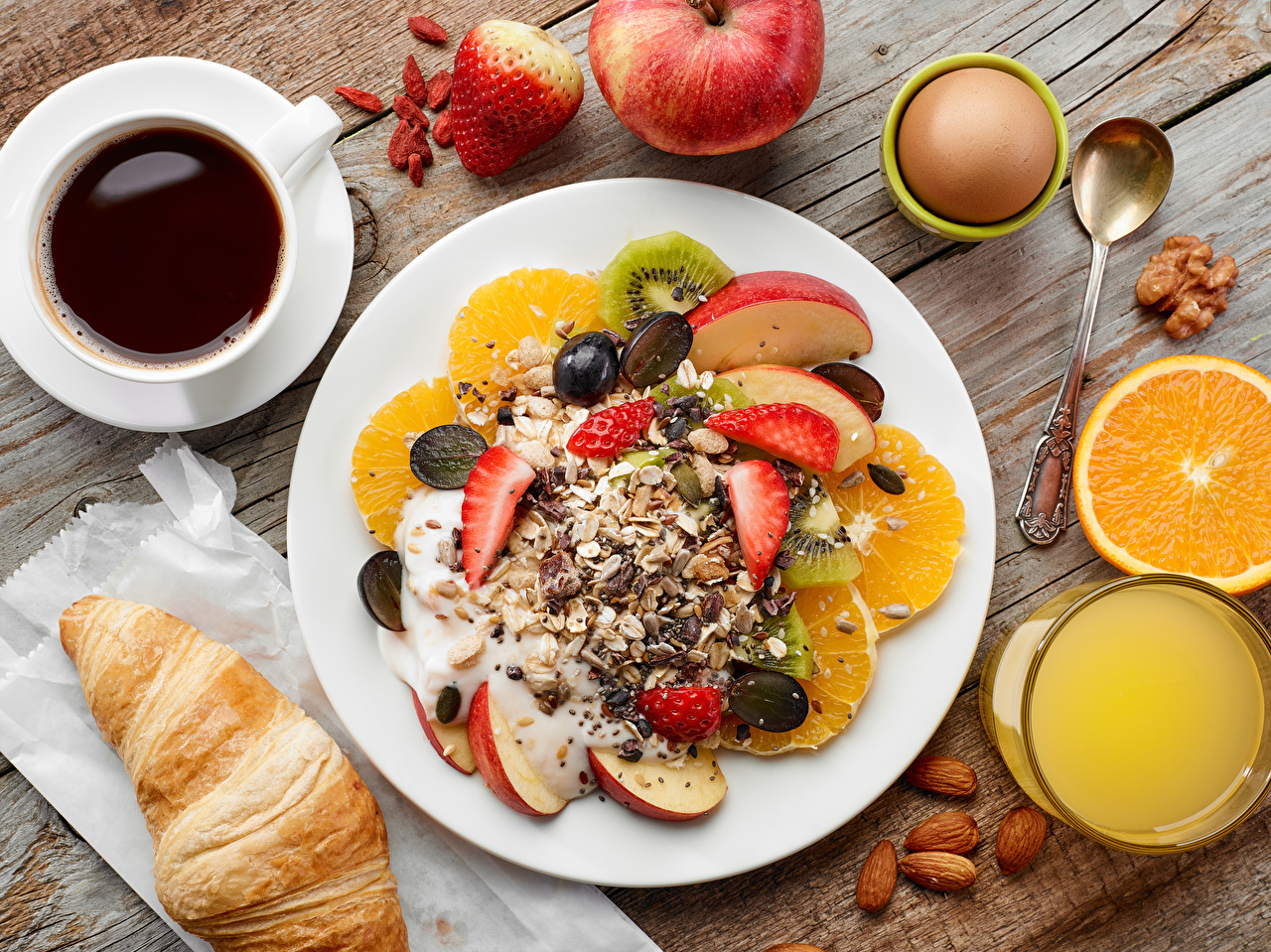 Photos egg Juice Coffee Croissant Breakfast Cup Food Plate Fruit Muesli Nuts boards Eggs Wood planks