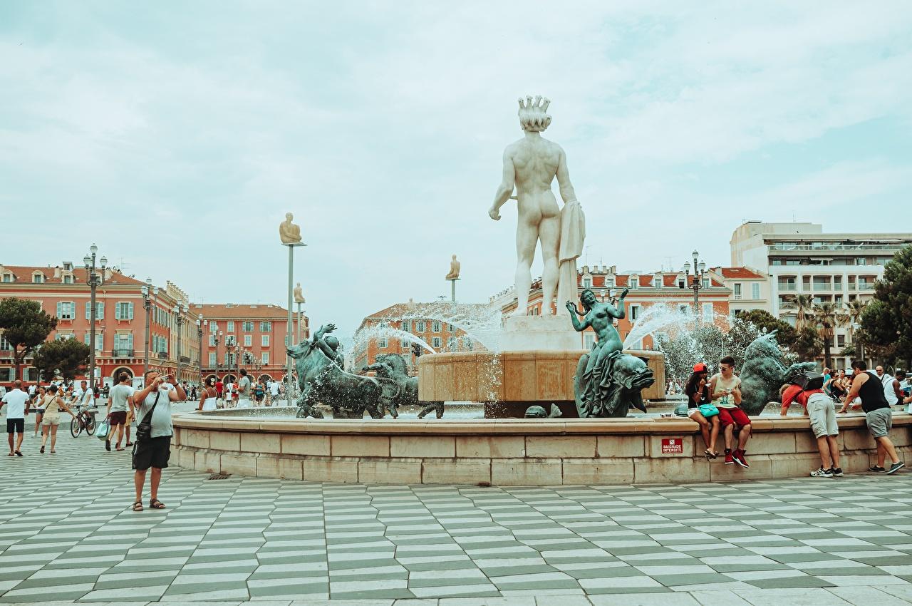 Photos France Fountains Town square Place de Massena, Nice, Fountain Sun, Apollo Cities Sculptures