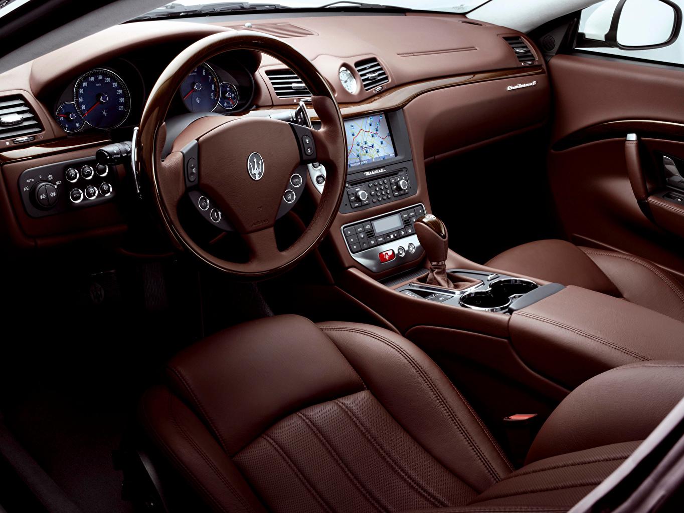 Desktop Hintergrundbilder Salons Maserati Lenkrad Leder Autos auto automobil