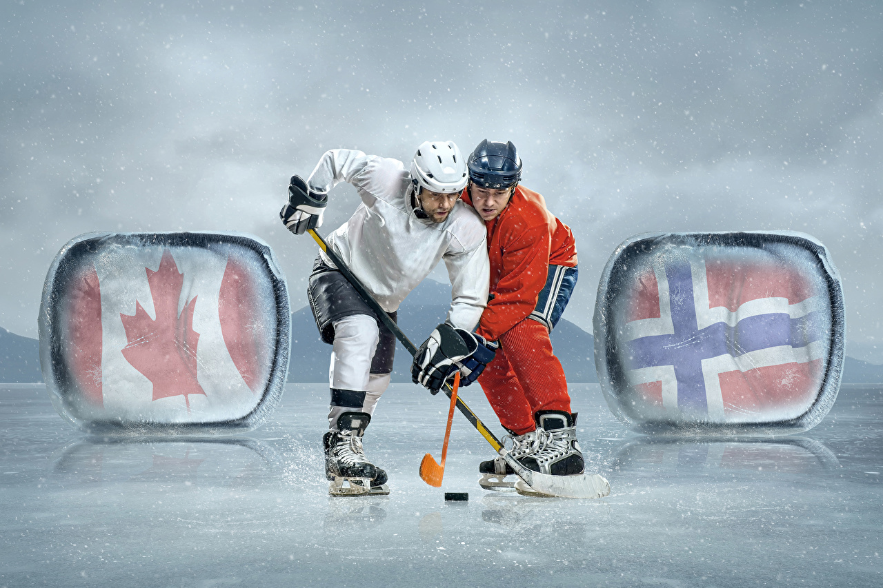 Photos Ice skate Men Helmet Ice rink Two athletic Hockey Uniform Man 2 Sport sports