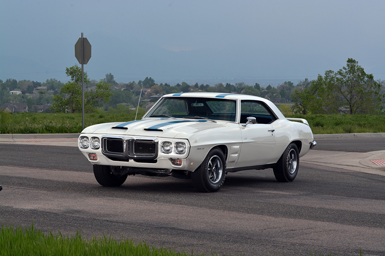 Photo Pontiac 1969 Firebird Trans Am Ram Air IV Coupe White Cars auto automobile