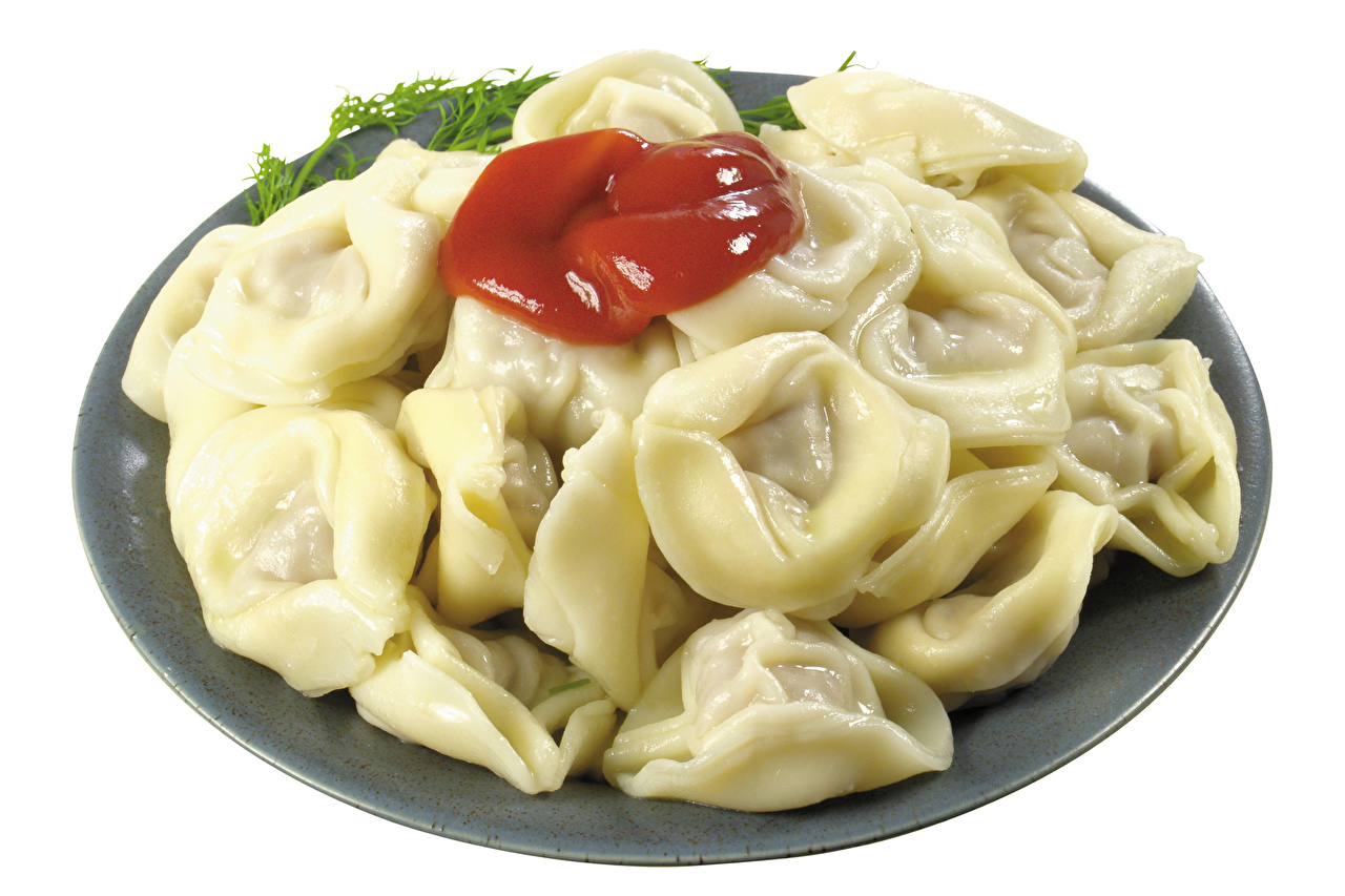 Wallpapers Pelmeni Ketchup Food Plate White background