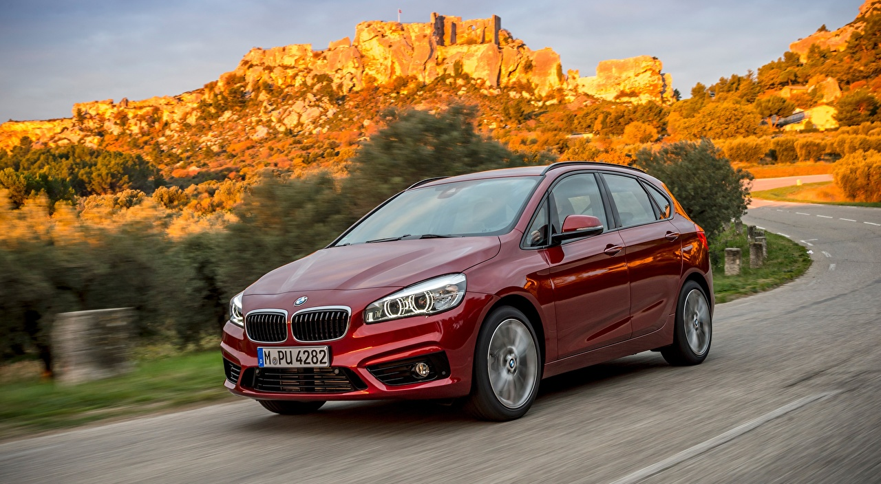 Wallpaper BMW Hatchback, 220d xDrive, Active Tourer, 2014 Red driving Metallic automobile moving riding Motion at speed Cars auto