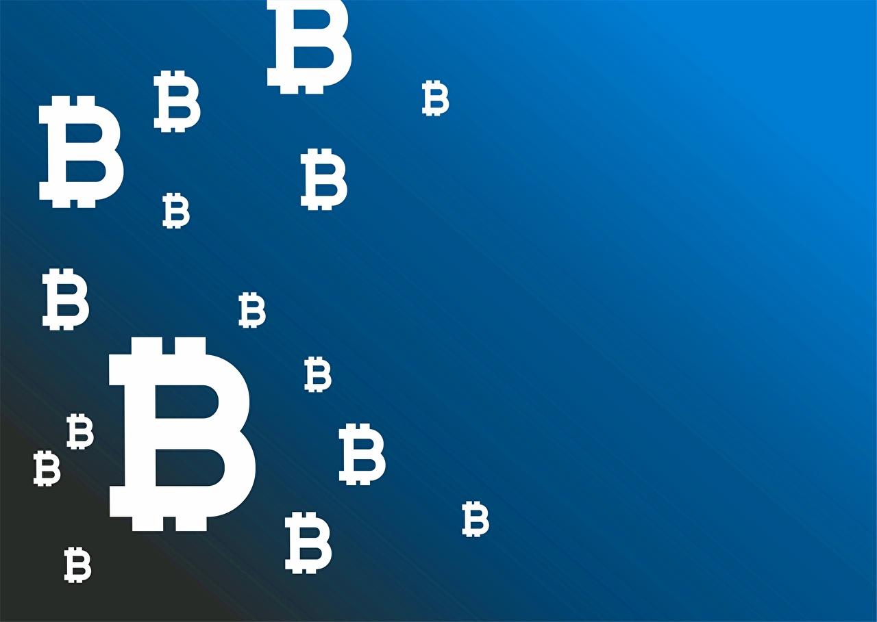 Photos Bitcoin Blue Colored background