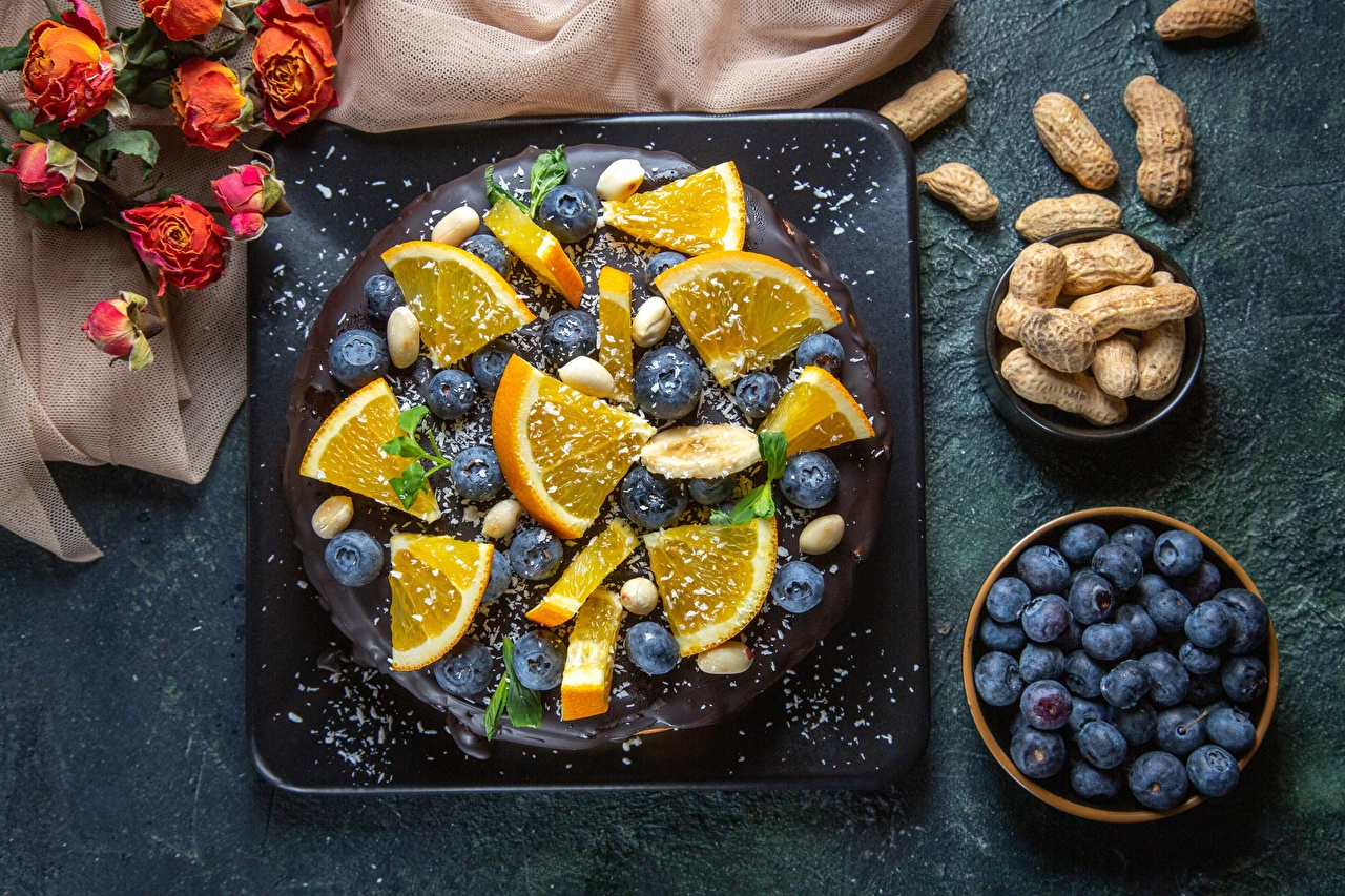 Bakgrunnsbilder Kake Appelsin Blåbær Mat Nøtter