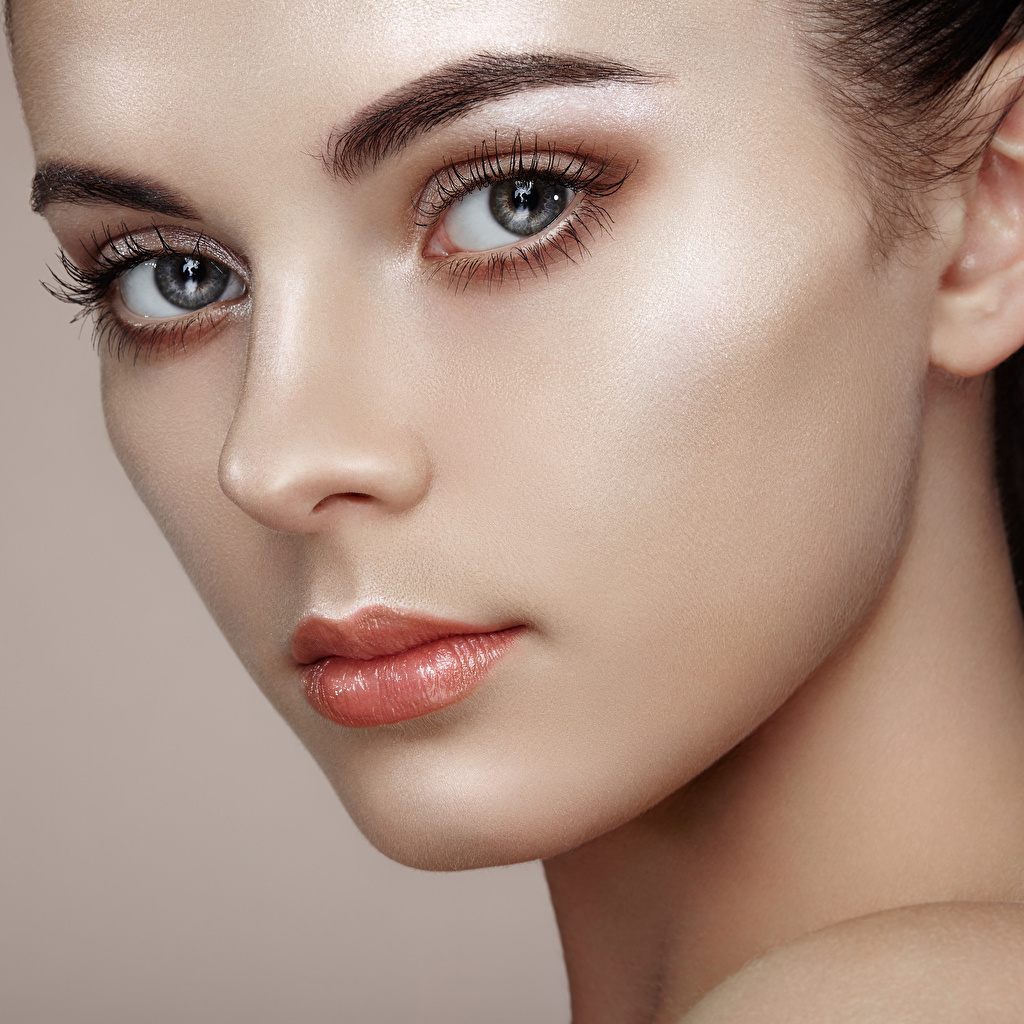 Images Makeup Face Girls Glance Closeup Colored background female young woman Staring