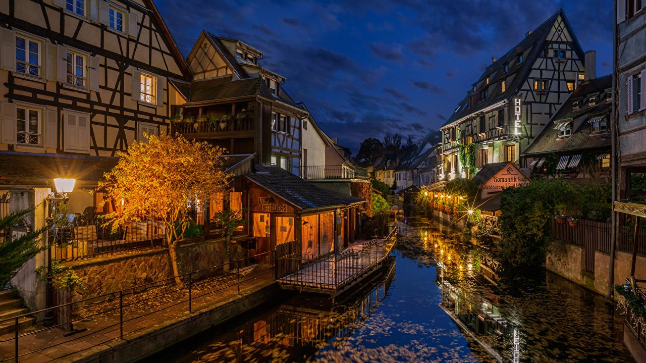 Wallpaper France Colmar Canal Evening Street lights Cities Building Houses