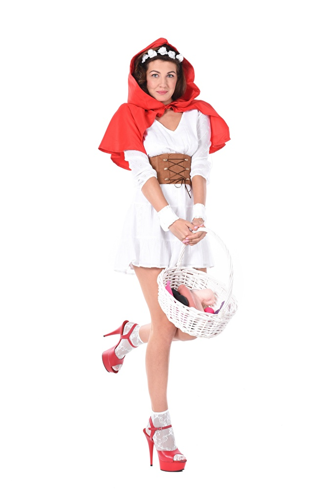 Pictures young woman Uniform high heels Hands Red Riding Hood hooded Gia Ren Wicker basket Legs  for Mobile phone Girls female Stilettos Hood headgear