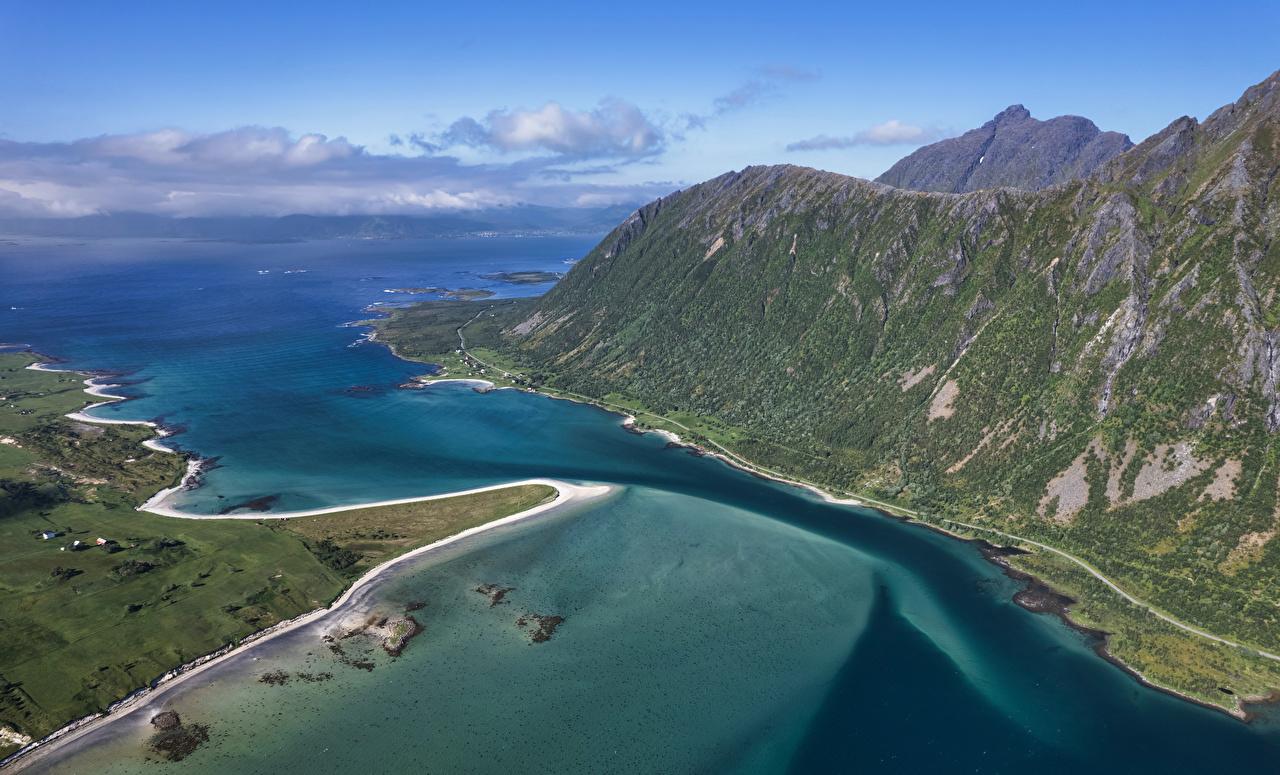 Desktop Hintergrundbilder Lofoten Norwegen Morfjord Fjord Berg Natur Von oben Gebirge