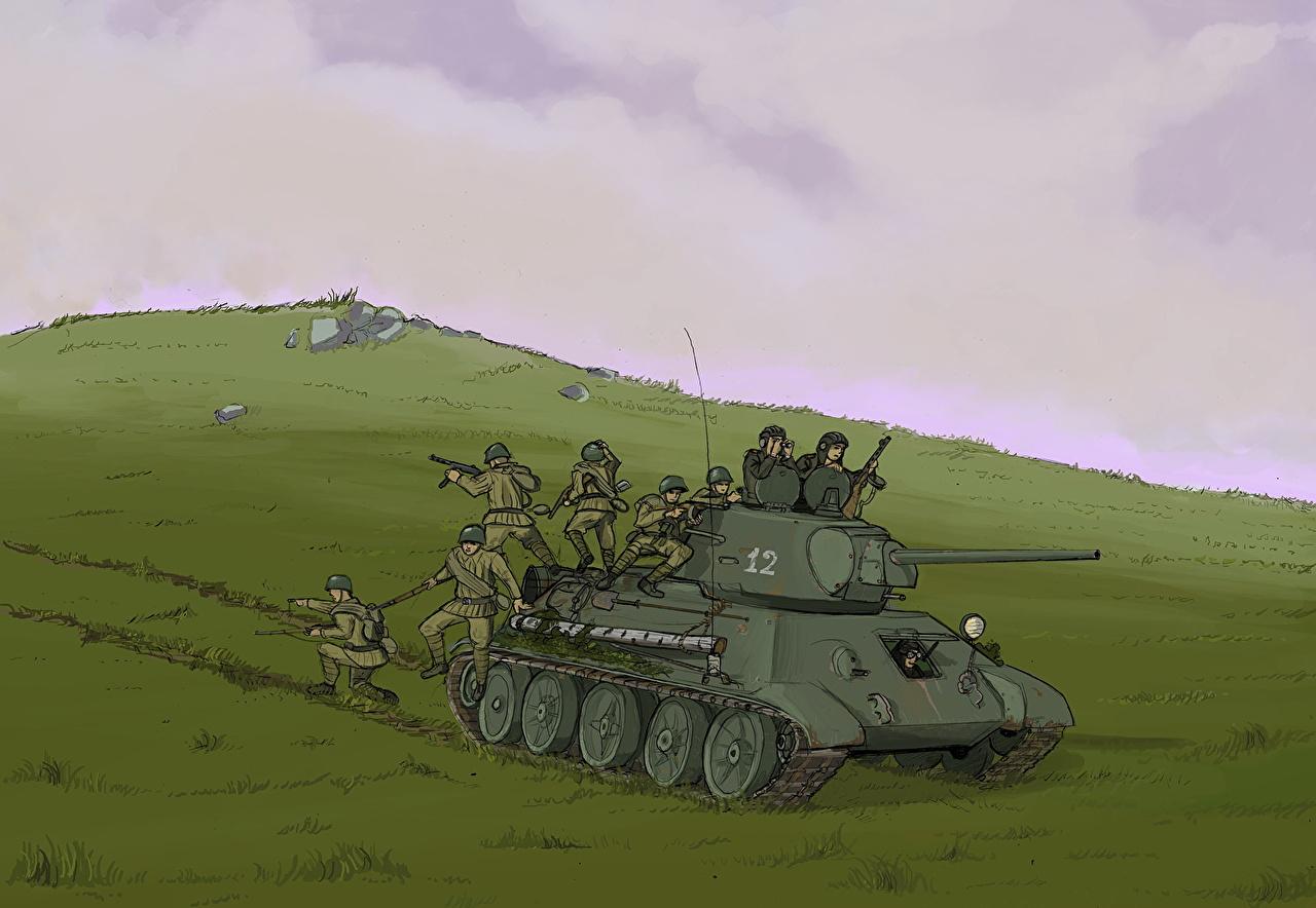 Советские солдаты на танке Т-34 в Чехословакии — военное фото | 884x1280