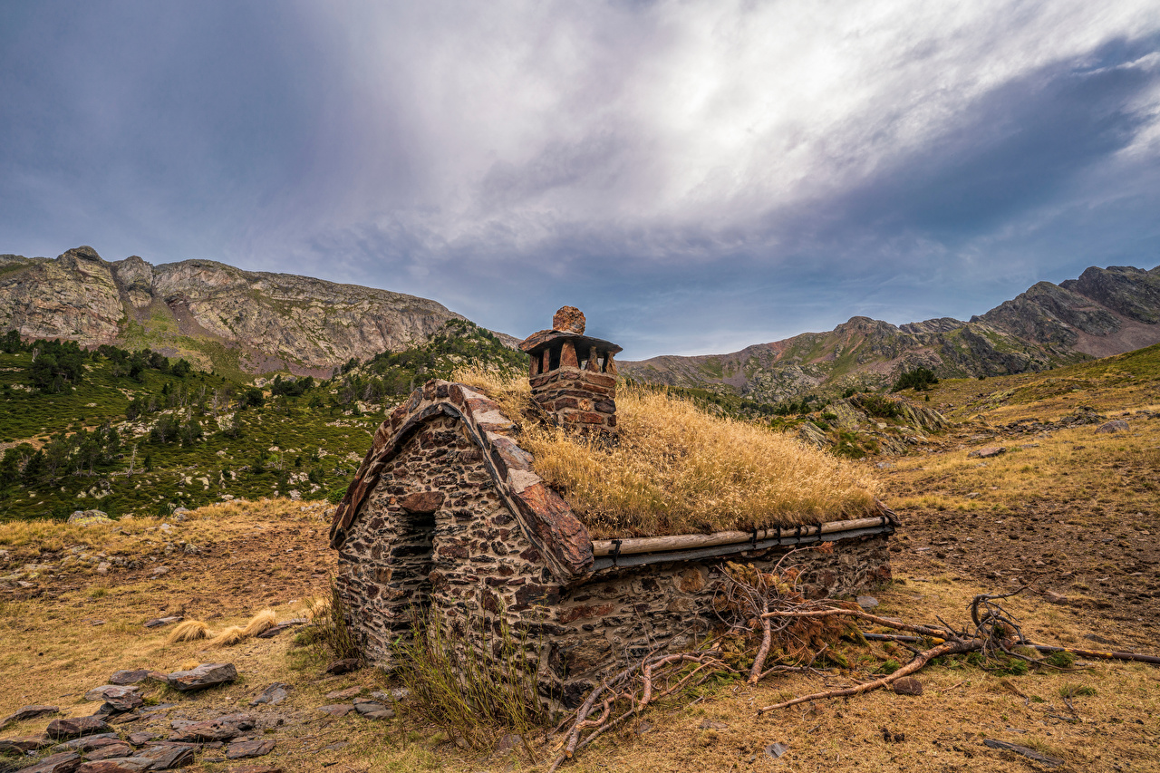 Images Andorra Coma Pedrosa National Park Nature mountain park Branches Made of stone Houses Mountains Parks Building