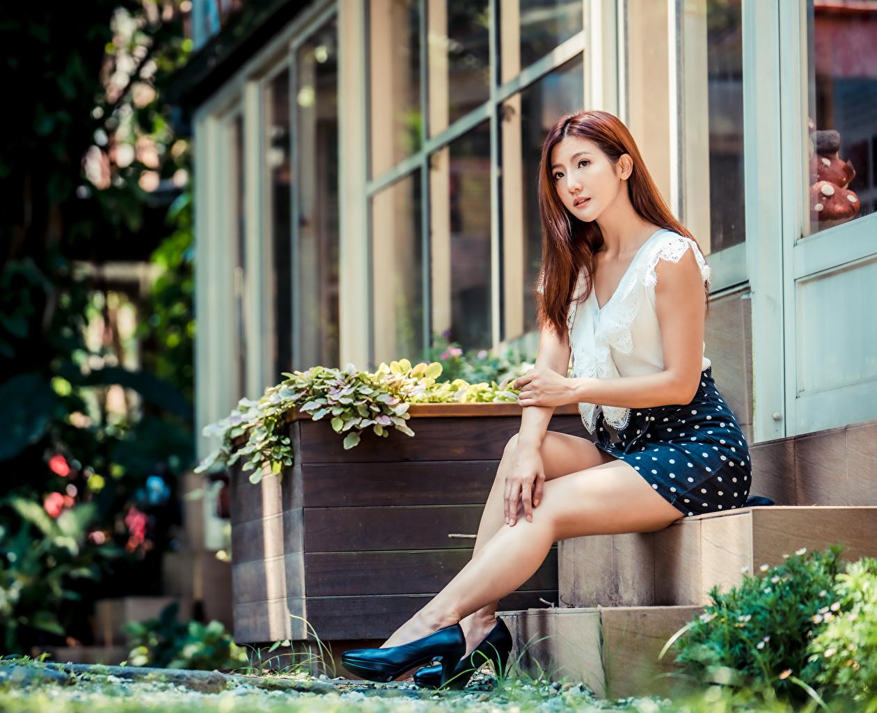 Bilder von Rock Braune Haare Bokeh Bluse Treppen junge frau Bein asiatisches sitzt High Heels Braunhaarige unscharfer Hintergrund Treppe Stiege Mädchens junge Frauen Asiaten Asiatische sitzen Sitzend Stöckelschuh