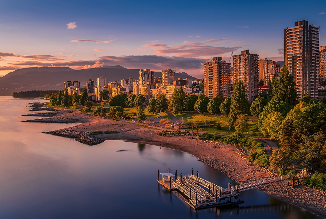 Image Vancouver Canada Coast Evening Houses Cities Building