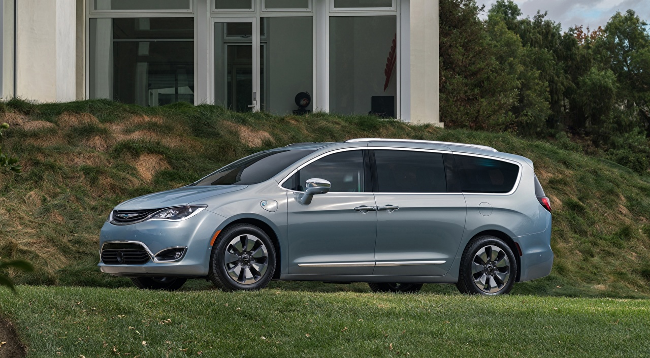 Desktop Wallpapers Chrysler Crossover Pacifica, Hybrid, 2016 Silver color auto Side Grass CUV Cars automobile