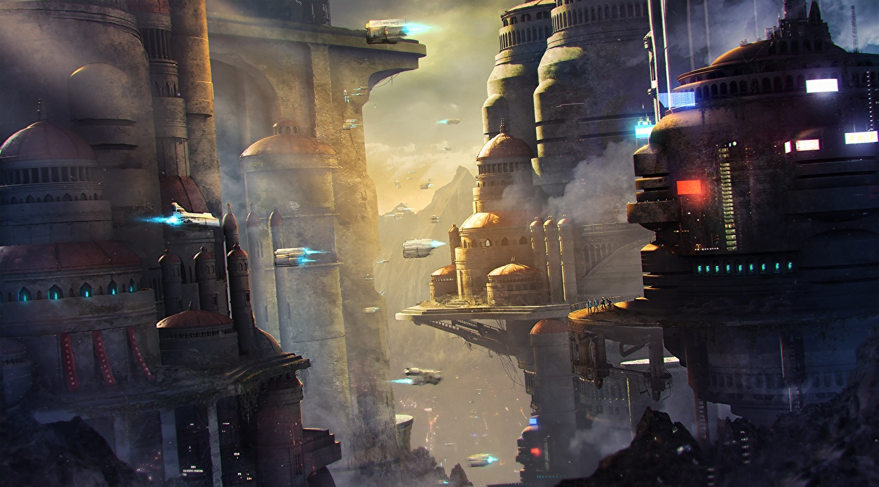 Image Fantasy Fantastic world Houses Building