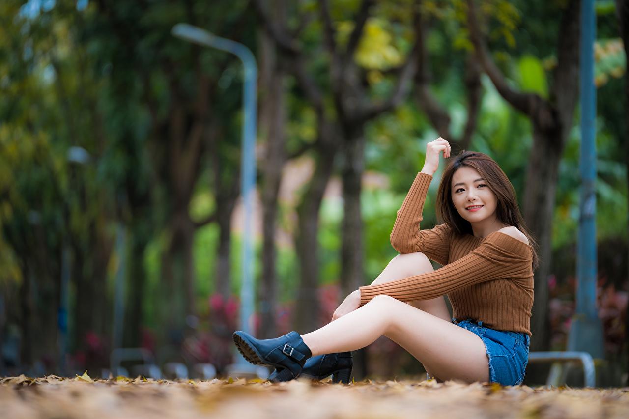 Fotos von Bokeh junge frau Bein Sweatshirt Asiatische sitzt Shorts Blick unscharfer Hintergrund Mädchens junge Frauen Asiaten asiatisches sitzen Sitzend Starren