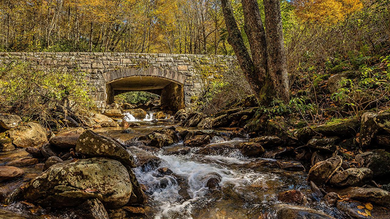 Outono Pedras Pontes HDR Córrego ponte, pedra, HDRI, córregos Naturaleza
