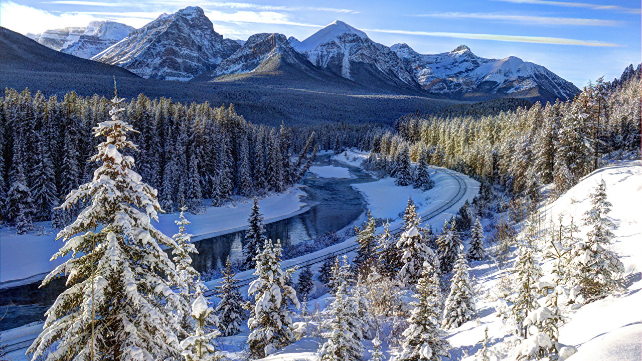 Wallpaper Banff Canada Alberta Winter Nature mountain park Snow Forests Scenery Mountains Parks forest landscape photography