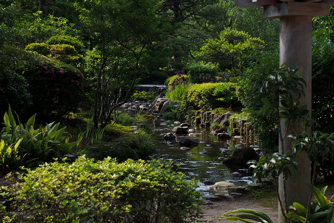 Wallpapers Japan Kanazawa Nature Pond Parks Stones Bush Trees Shrubs
