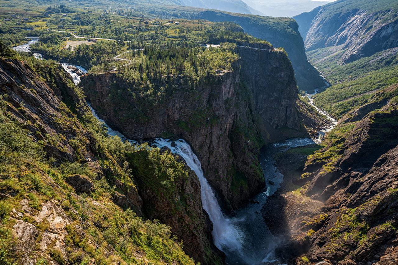 Bilder von Norwegen Natur Felsen Gebirge Wasserfall Bäume Berg