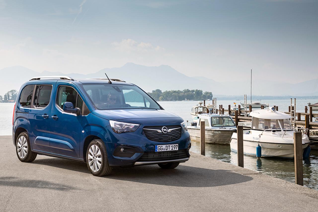 Desktop Hintergrundbilder Opel 2018-19 Combo Life Ein Van Blau Autos Metallisch auto automobil