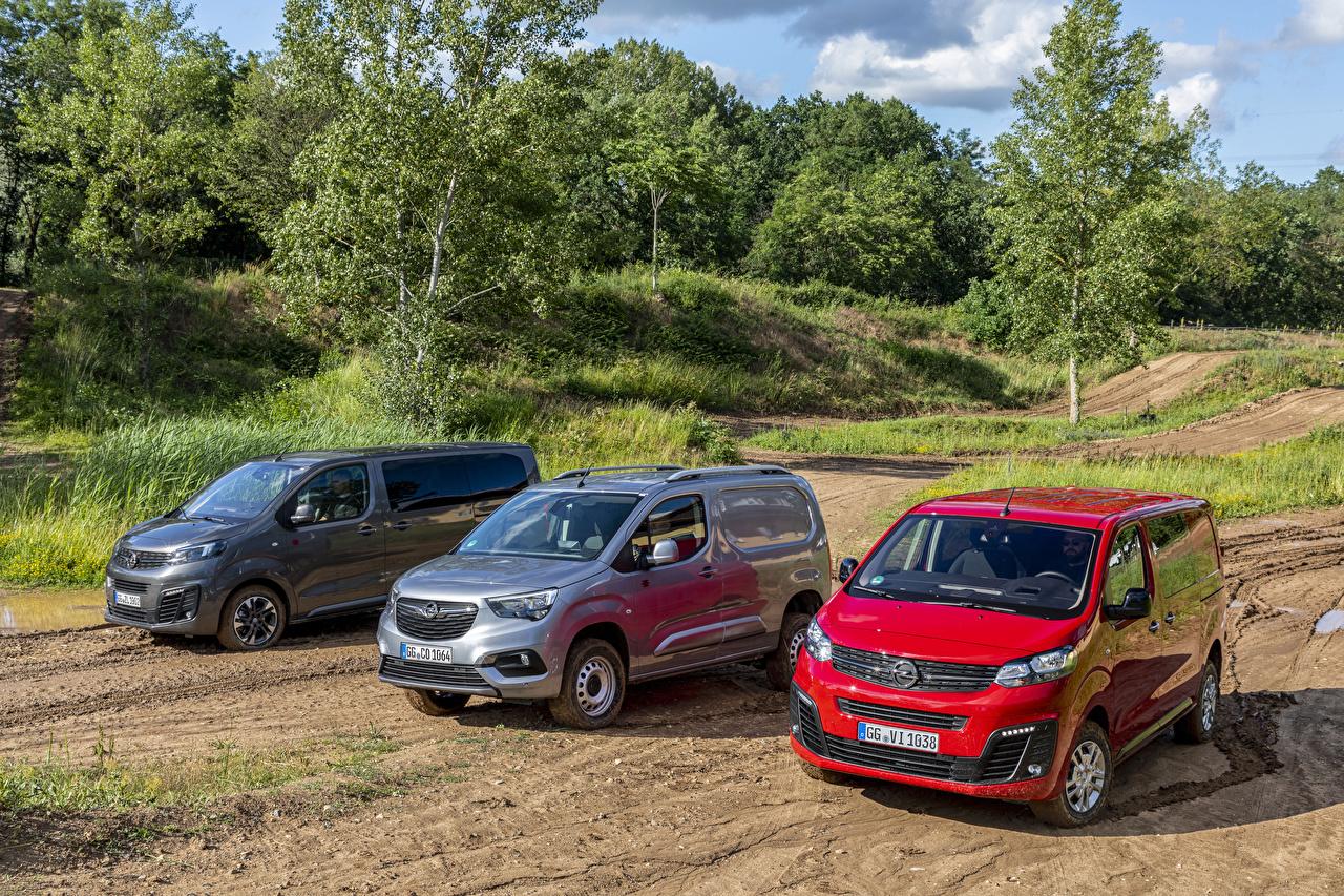 Tapeta na pulpit Opel Combo Cargo, Zafira Life, Vivaro Minivan trzech samochód Metaliczna MPV trzy Troje 3 Samochody