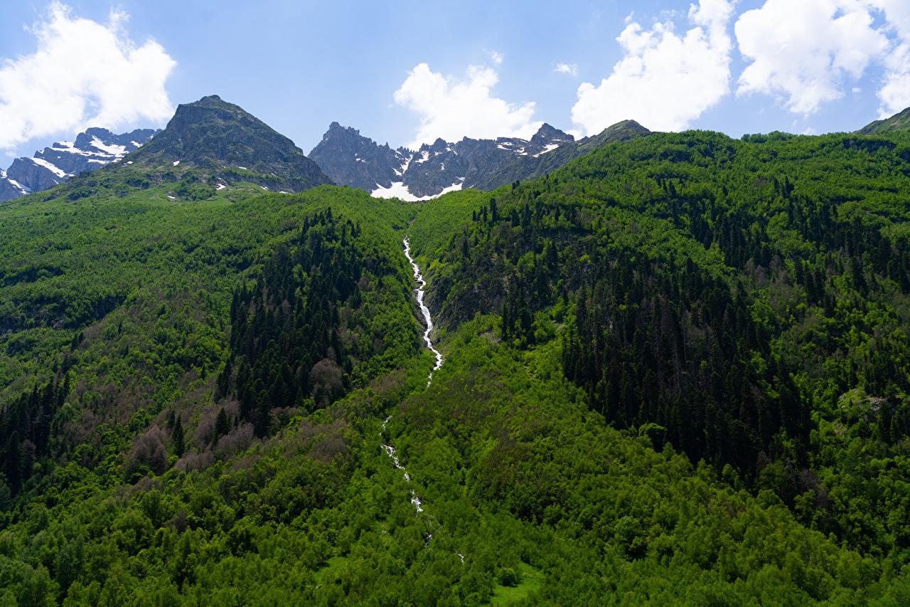 Rusia Montañas Ríos Karachay-Cherkessia montaña, río Naturaleza