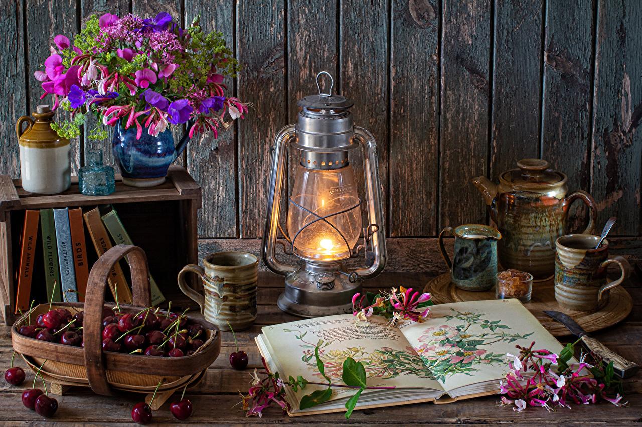 Wallpaper Bouquets Petals Kerosene lamp Cherry Mug Vase Book Food walls Still-life bouquet paraffin lamp Wall books