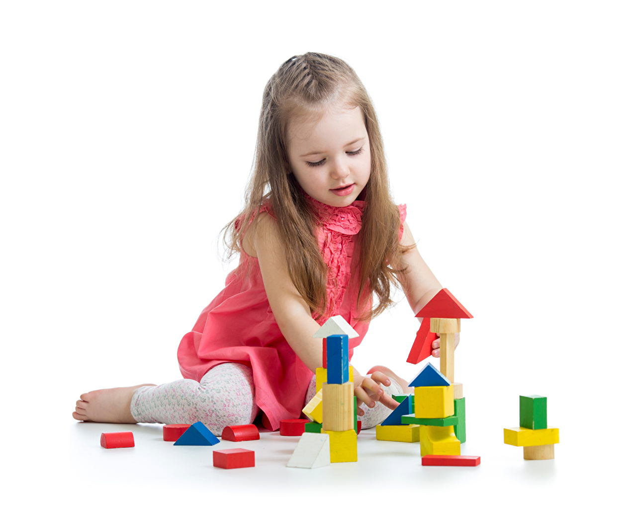 Photo Little girls Children Toys White background