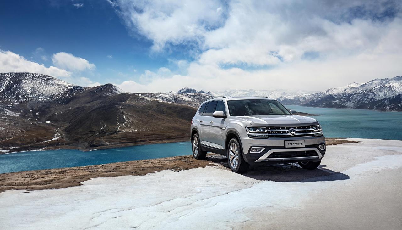 Photo Volkswagen CUV 2018 Atlas Teramont gray Cars Crossover Grey auto automobile