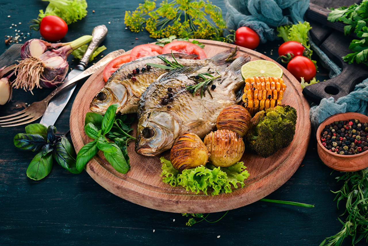 Picture Potato Fish - Food Food Vegetables Cutting board