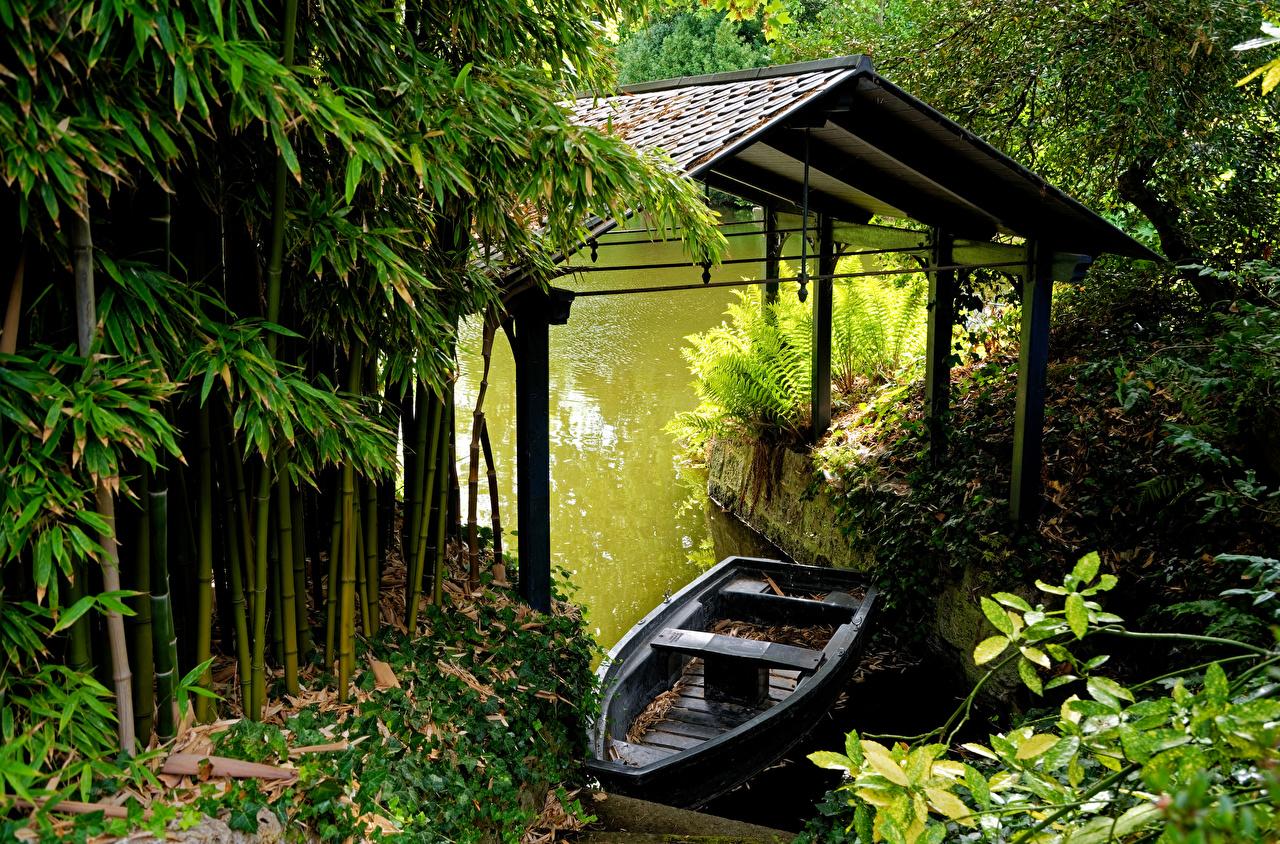 Desktop Wallpapers France Bamboo Nature Boats Rivers Marinas Pier Berth river
