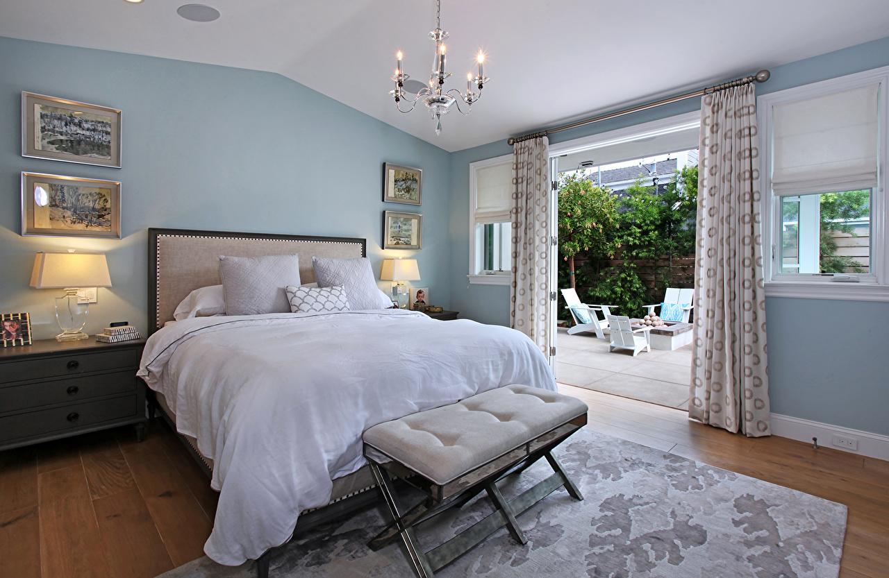壁紙 インテリア デザイン 寝室 ベッド シャンデリア ランプ