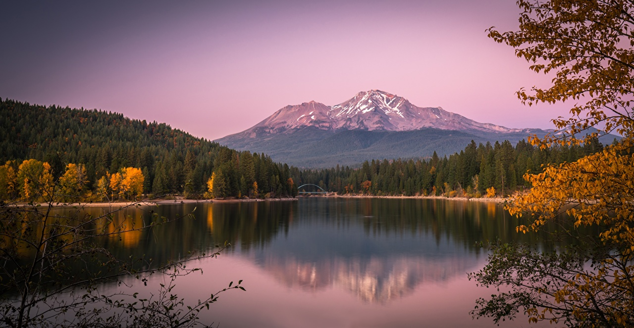 Wallpaper California USA Lake Siskiyou, Mount Shasta, Cascade Range Autumn Nature Mountains forest mountain Forests