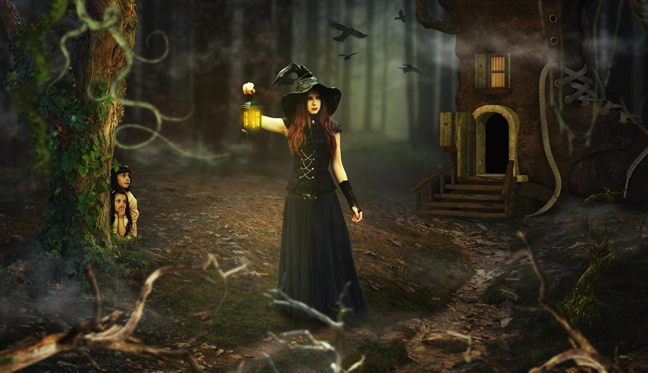 Bilder Kleine Mädchen Hexe Laterne Der Hut Fantasy Mädchens Nacht