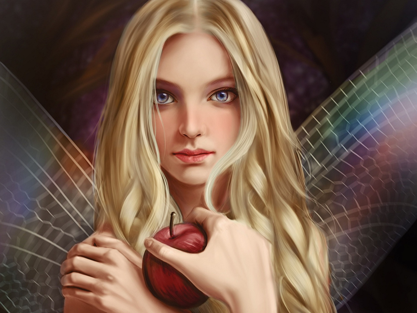 Wallpaper Fairies Blonde girl Vincent Chu Girls Fantasy Apples Hands Glance Fairy female young woman Staring