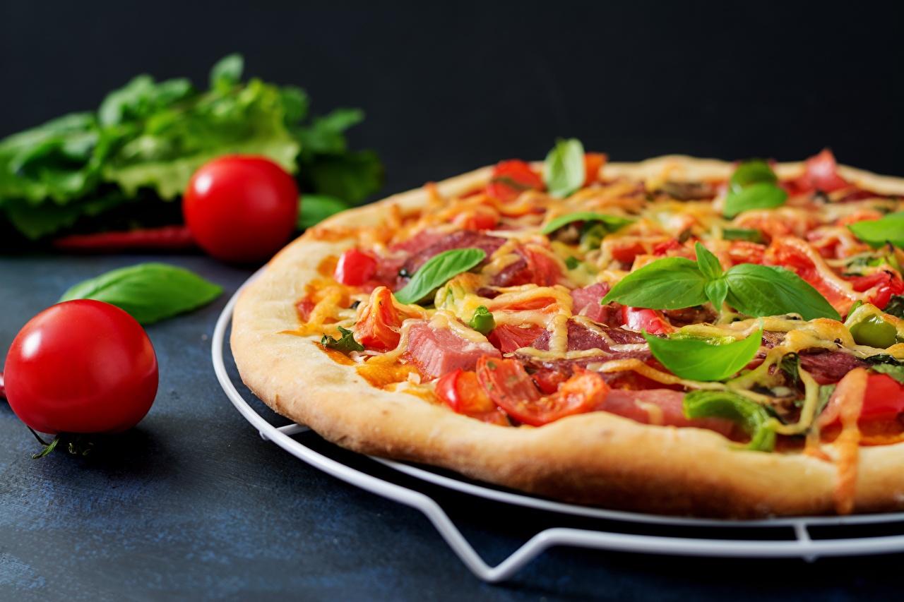 Bilder von Pizza Tomate Basilienkraut Schinken Lebensmittel hautnah Tomaten Basilikum Königskraut das Essen Nahaufnahme Großansicht