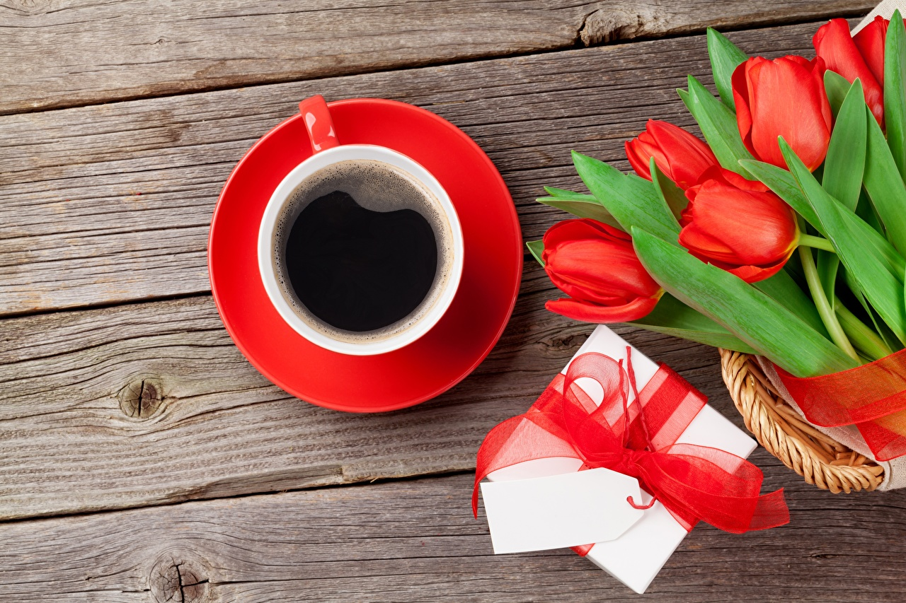 Wallpaper Valentine's Day Bouquets Tulips Coffee Box Gifts flower Cup Food Bowknot boards bouquet tulip present Flowers bow knot Wood planks