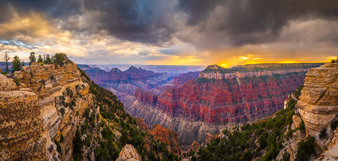 Afbeeldingen Nationaal Park Grand Canyon Amerika panoramische Arizona Kloof Natuur falesia park Wolken verenigde staten Panorama ravijn klif landform Parken